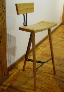 Wrought iron and wood bar stool collaboration