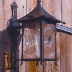 Collaborators - Rising Sun Forge - Wrought Iron Lantern with Hand-Blown Bullseye Glass