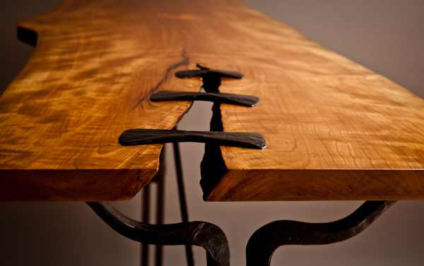Cherry and Iron Hall Table detail 2 - Rising Sun Forge