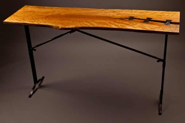 Cherry and Iron Hall Table - Rising Sun Forge