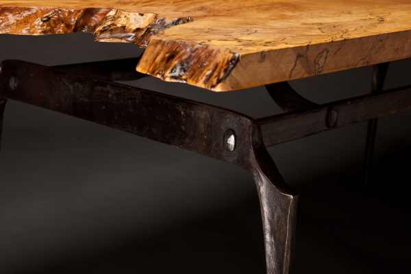 Spalted Maple and Iron Coffee Table Detail 1 - Rising Sun Forge