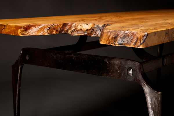 Spalted Maple and Iron Coffee Table Detail 2 - Rising Sun Forge