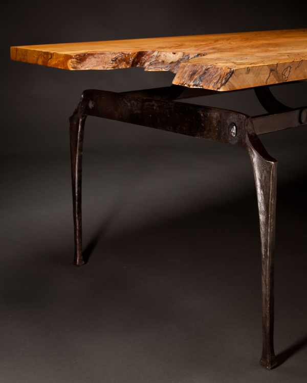 Spalted Maple and Iron Coffee Table Detail 3 - Rising Sun Forge